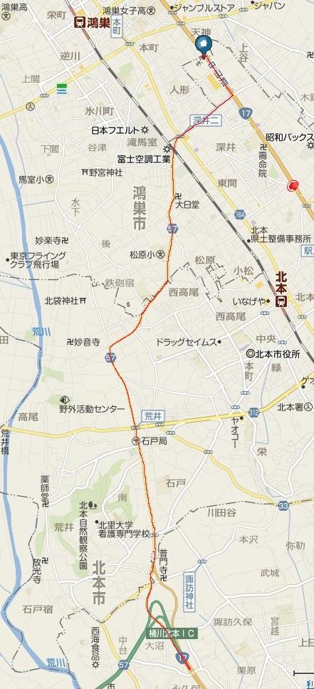 圏央道桶川北本ICから木村木材工業株式会社までの地図です。赤線の通り進んでください。地図をクリックしていただくと、別ウィンドウでyahoo地図の該当部分が開きますのでご利用ください。