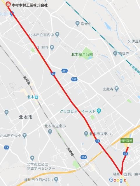 圏央道桶川加納ICから当社までの地図です。通常時は約15分で到着します。クリックしていただくとgoogle mapにリンクしています。